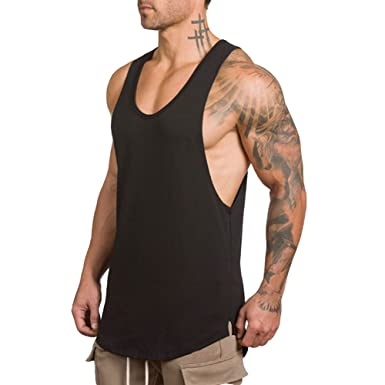 db894762a EVERWORTH Men's Workout Stringer Muscle Gym Training Tank Tops Athletic Bodybuilding  Fitness T-Shirts Black
