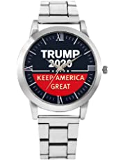 Donald Trump 2020 Watches for Men Women,Casual Stainless Steel Quartz Wristwatch+Presidential Election Campaign Button,Birthday Gift Set