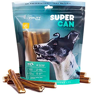 Prime Bully Sticks by Super CAN Bully Sticks - Premium 100% Natural Dog Treats & Chews. Healthy, Nutritious & Delicious - from The Finest Free Range Grass fed Cattle Beef from SUPER CAN BULLYSTICKS