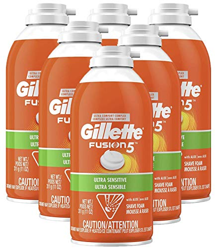 Gillette Fusion5 Ultra Sensitive Shave Foam, 11 Ounce (Pack of 6)