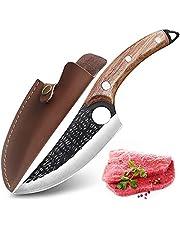 Japan Kökskniv med hålkockknivar Handsmedagda Boning Knivar Med Lädermantel 6 tums Rostfritt Stål Kockkniv