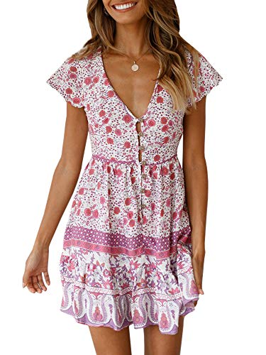 GAMISOTE Women's Sexy V-Neck Short Sleeves Flare Asymmetric Floral Print Party Summer Short Mini Dress Pink (Flower Print Swing)