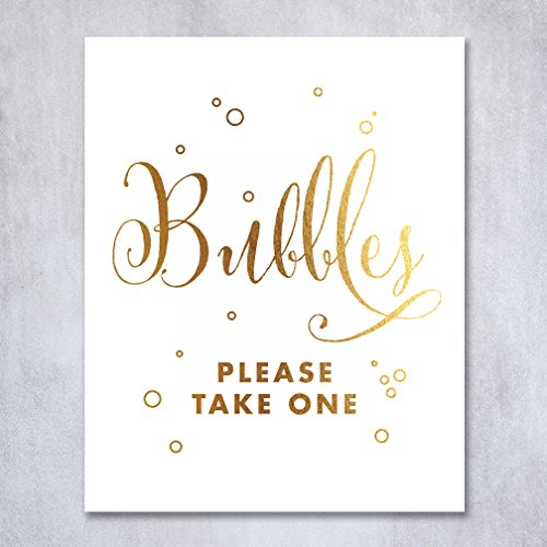 Bubbles Gold Foil Sign Wedding Reception Sendoff Favor Signage Poster Bubble Send Off Decor Calligraphy Please Take One 8 x 10 inches