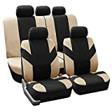 2003 lancer seat covers - FH Group FB072115 Road Master Fabric Auto Seat Covers Full Set Airbag & Split Ready, Beige/Black Color- Fit Most Car, Truck, Suv, or Van
