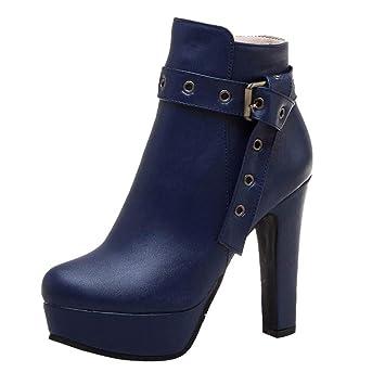 LILIHOT Damen High Heels Stiefel Mode Frauen Wasserdichte