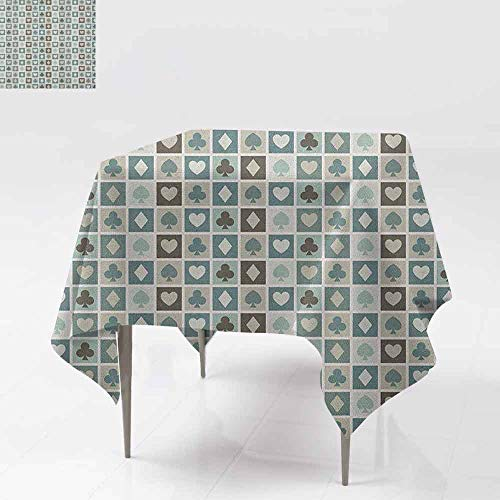 Indoor/Outdoor Square Tablecloth,Casino,Card Suits Hearts Spades Diamonds and Clubs Pattern Gaming Houses Addiction Print,High-end Durable Creative Home,54x54 Inch Multicolor