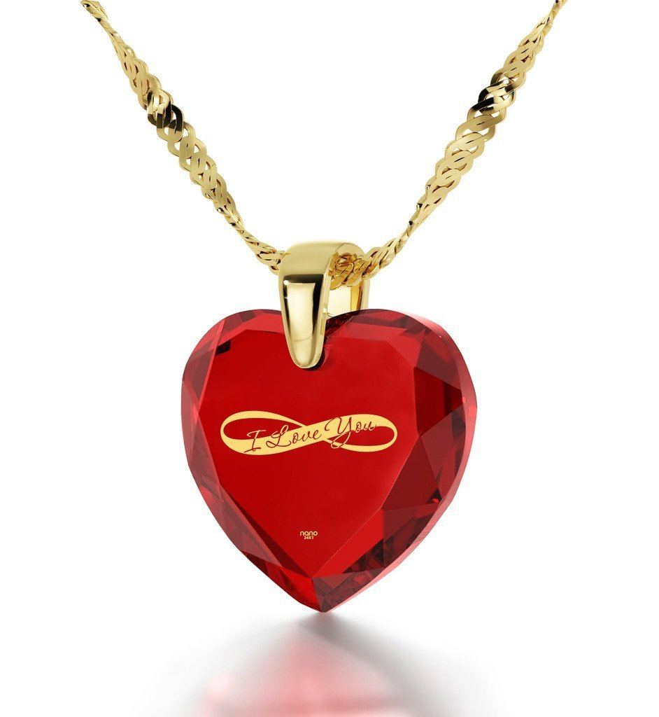 Gold Plated Heart Necklace I Love You Pendant Infinity Symbol 24k Inscribed on Red Cubic Zirconia, 18''