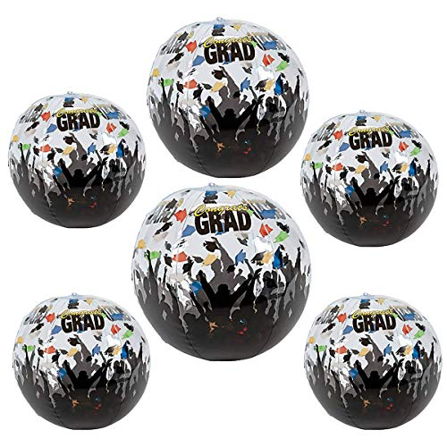 Kicko Inflatable Beach Balls - Set of 6 - Cool Graduation Celebration Inflatable Beach Ball - Perfect for Graduation Party in Kindergarten, Elementary, High School, College]()