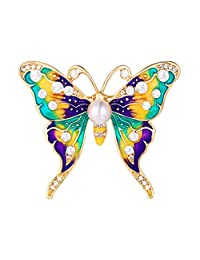 Colorful Butterfly Brooch for Girls Women Rhinestone Laple Pin Accessories Gold/Platinum Jewelry