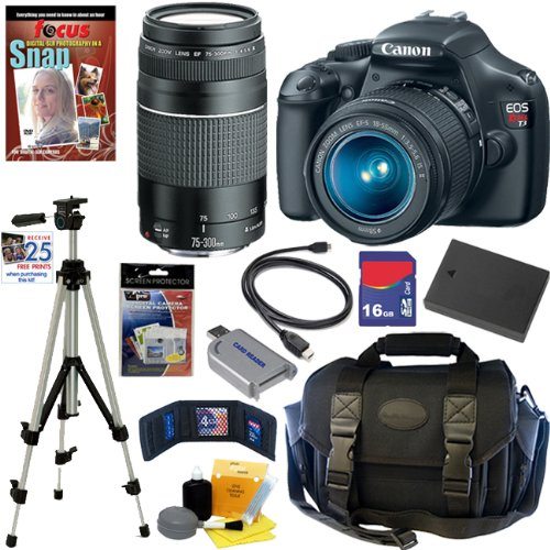 Canon EOS Rebel T3 12.2 MP CMOS Digital SLR Camera with EF-S 18-55mm f/3.5-5.6 IS II Zoom Lens and EF 75-300mm f/4-5.6 III Telephoto Zoom Lens + 10pc Bundle 16GB Deluxe Accessory Kit, Best Gadgets