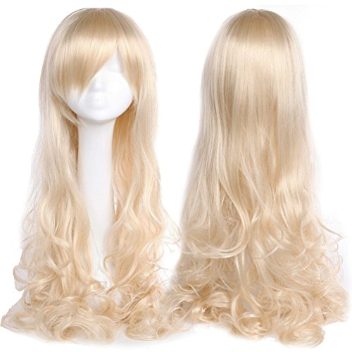 Easy To Make Cosplay Costumes For Guys (32 Inch Long Wavy Curly Anime Cosplay Wigs with Bangs Japanese Kanekalon Heat Resistant Synthetic Hair for Women Girls Halloween Costume 10 Colors(Linen Blonde))