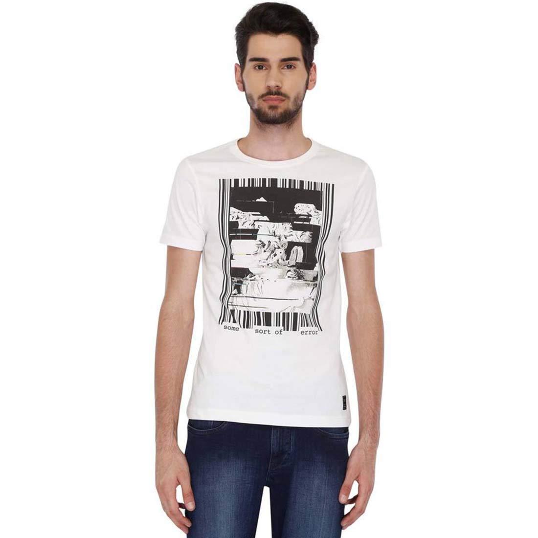 Indian Handicrfats Export White Printed Regular Fit Cotton Mens T-Shirt