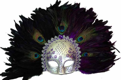 Classic Vintage Ancient Temple Shaman Ruin Mask w/ Feathers Design Laser Cut Masquerade Mask for Mardi Gras Events or Halloween - Silver and Purple Lining (Mask Shaman)