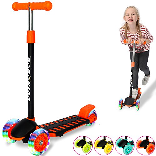 BOBOKING Scooter for Kids, Deluxe Kick Scooter with 3 LED Light Up Wheels, Adjustable Height T-bar Mini Kick Scooter Ages 3-12, Surface-safety Balance Technology, 24 Months Guarantee (Orange)