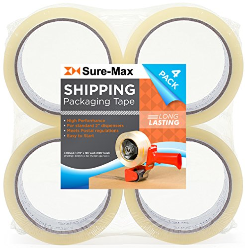 sure-max-premium-carton-packing-tape-20-mil-165-feet-55-yards-clear-4-rolls