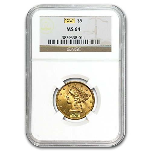1839 – 1908 $5 Liberty Gold Half Eagle MS-64 NGC G$5 MS-64 NGC