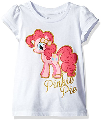 (My Little Pony Little Girls' Toddler Pinkie Pie Short-Sleeved Puff T-Shirt, White,)