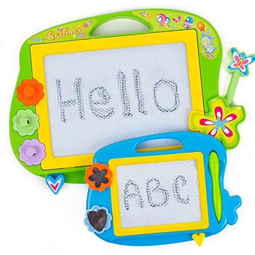 [Toysery Children Erasable Magnetic Drawing Writing Board Sketch Pad Doodle Boards Art Toy Gift (2 Pieces, Large and Small)(Colors May] (Animals That Start With The Letter A)