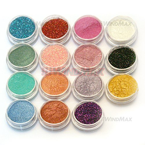 15 Cold Smoked Metals Color Glitter Shimmer Pearl Loose Eyeshadow Pigments Mineral Eye Shadow Dust Powder Makeup Party Cosmetic Set E]()