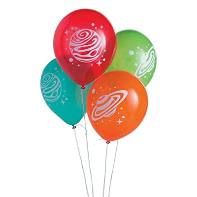 SPACE PARTY LATEX BALLOONS - Party Decor - 24 Pieces: Toys & Games