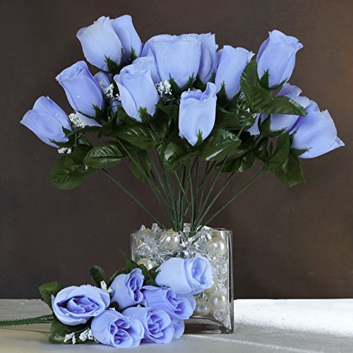 BalsaCircle 84 Periwinkle Silk Rose Buds - 12 bushes - Artificial Flowers Wedding Party Centerpieces Arrangements Bouquets (Periwinkle Home Decor Fabric)