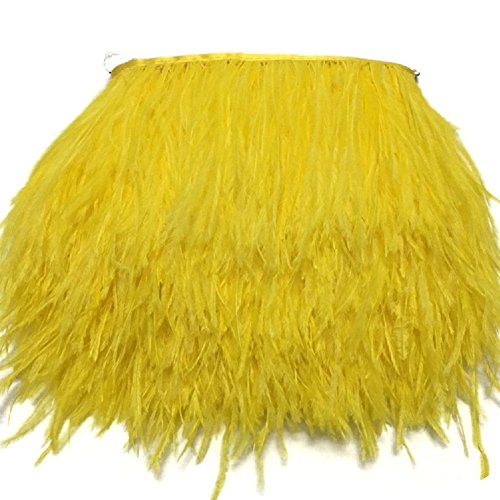 MELADY 10 Yards Fashion Dress Sewing Crafts Costumes Decoration Ostrich Feathers Trims Fringe with Satin Ribbon Tape (Yellow) ()