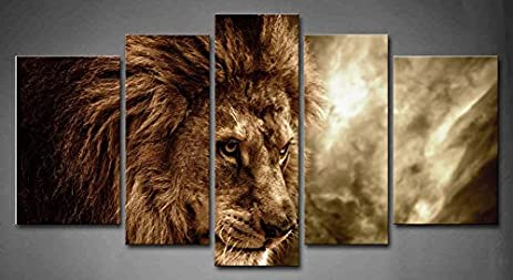 5 Panel Wall Art Brown Fierce Lion Against Stormy Sky Painting The Picture  Print On Canvas
