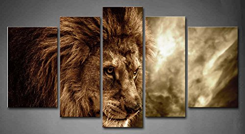 5 Panel Wall Art Brown Fierce Lion Against Stormy Sky Painti
