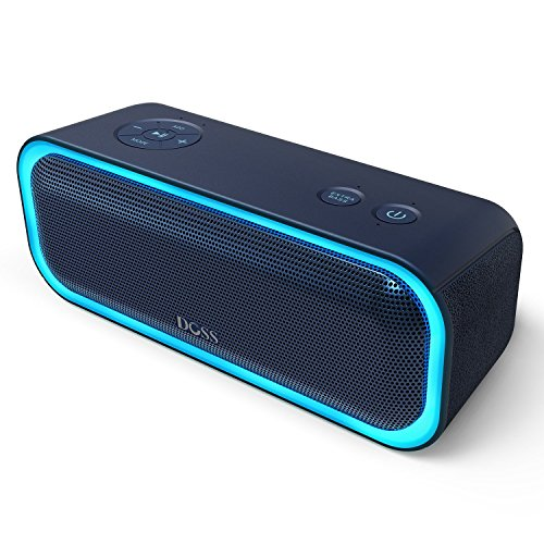DOSS SoundBox Pro Wireless Bluetooth Speaker, 20W Speaker with Stereo Sound, Enhanced Bass, Stereo Pairing, Multiple LED Light, Long-Lasting Battery Life for iPhone, Samsung, iPad, Echo dot, Good Gift by DOSS