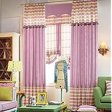 "IYUEGOU Modern Print Cotton Multi Striped Energy Saving Double Pleated Curtain Draps 72"" W x 96"" L(One Panel)"