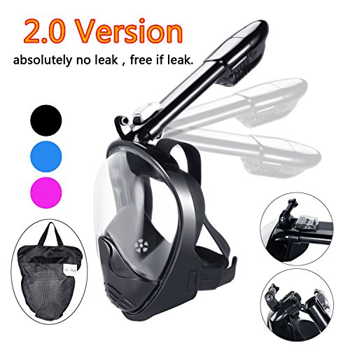 180°view Panoramic full face Snorkel Mask,with anti-fog anti-leak snorkeling Design (PURE BLACK, S/M)