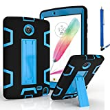 LG G Pad 2 8.0 Case, LG G Pad F 8.0 Cover, Kuteck Defender Armor Hybrid Case Full Body Cover with Stand For LG G PAD 2 8.0'' / G PAD F 8.0'' Inch V495 V498 + Stylus Pen (Black/Blue)