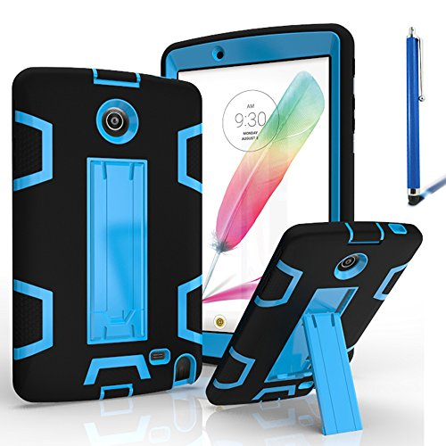 LG G Pad 2 8.0 Case, LG G Pad F 8.0 Cover, Kuteck Defender Armor Hybrid Case Full Body Cover with Stand For LG G PAD 2 8.0'' / G PAD F 8.0'' Inch V495 V498 + Stylus Pen (Black/Blue) by KUTECK