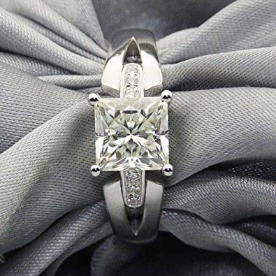 Princess Cut Moissanite 3Ct White Wedding Engagement Ring 925 Sterling Silver