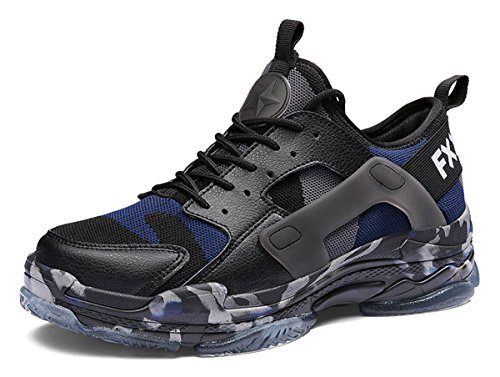 BomKinta Men's Fashion Sneakers Camouflage Running Shoes Breathable Outdoor Athletic Shoes Blue Size 10