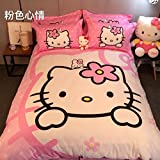 CASA 100% Cotton Kids Bedding Set Girls Hello Kitty Duvet cover and Pillow cases and Fitted sheet,girls,4 Pieces,Queen