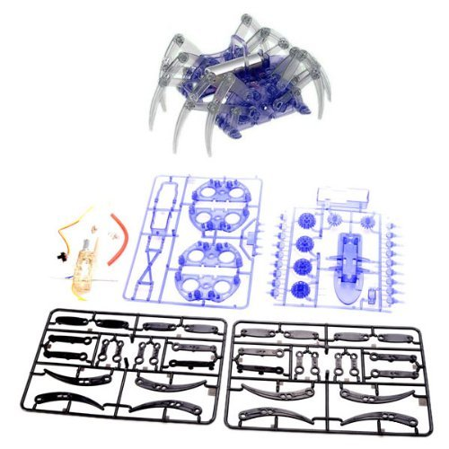 BUYEONLINE Educational Spider Robot Toy Diy Assembly Kit For Kids - Black + Blue