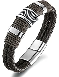 FIBO STEEL Stainless Steel Braided Leather Bracelet for Men Cuff Bracelet Magnetic Clasp 7.5-8.5 inches