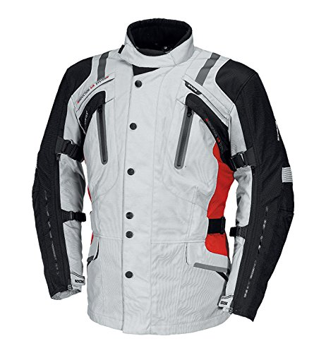 IXS Men's Nemoy GTX Jacket (Light Grey/Black/Red, X-Large)
