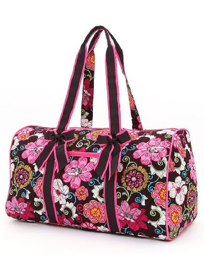 Belvah Quilted Floral 21u0026quot; Duffle Bag (Brown/Fuchsia)