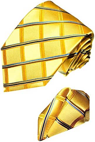 LORENZO CANA Italian 100% Silk Woven Tie Hanky Set Yellow Gold Square 8415101