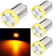 TABEN 4pcs BA9S Super Bright 8000K Amber 1210-4SMD LED Lights Bulbs BA9 53 57 1895 64111 Side Door Courtesy Lights Map Dome Lights