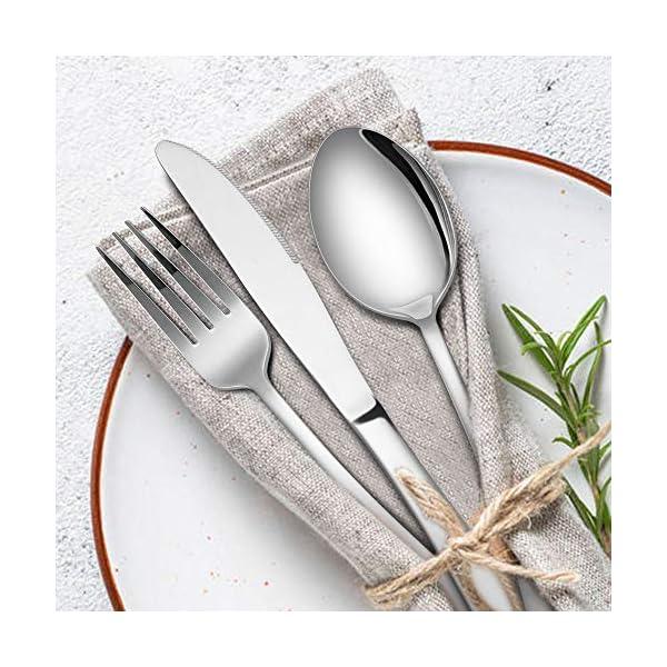Silverware Set, 40-Piece Flatware Set, E-far Stainless Steel Eating Utensils Service for 8, Dinner Knives/Forks/Spoons… 3