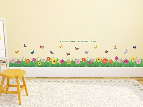 Solimo Wall Sticker for Kids' Room (Little Floral Hedge, ideal size on wall, 121 cm X 25 cm)