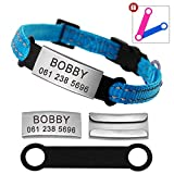 Didog Reflective Breakaway Custom Cat Collars with Stainless Steel Nameplate - No Noise Slideable Engraving ID Tag for Kitten Cats and Small Dogs,Blue,XXS Size