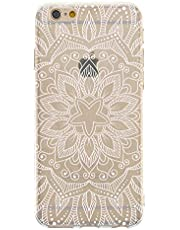 CrazyLemon Case for iPhone 7/8 / SE (2020), Transparent Soft TPU Ultra Thin Embossed Hollow Carved Flower Pattern Design Clear Slim Silicone Shockproof Protective Cover Shell - White Mandala Petal