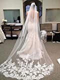Venusvi Lace Edge Cathedral Length Wedding Bridal Veil Comb (Ivory)
