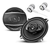 "Pioneer TS-A1370F A Series 5.25"" 300 Watts Max 3-Way Car Speakers Pair with Carbon and Mica Reinforced Injection Molded Polypropylene (IMPP) Cone Construction w/Free ALPHASONIK Earbuds"