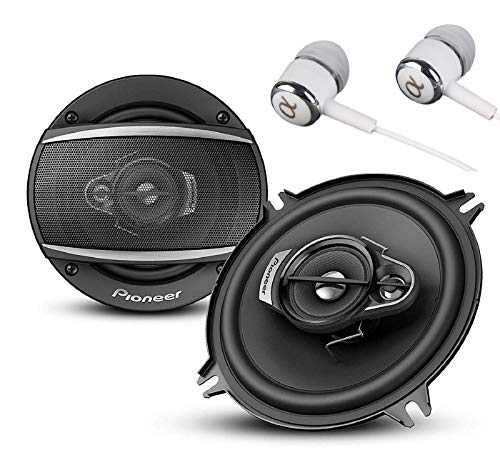 "Price comparison product image Pioneer TS-A1370F A Series 5.25"" 300 Watts Max 3-Way Car Speakers Pair with Carbon and Mica Reinforced Injection Molded Polypropylene (IMPP) Cone Construction w / Free ALPHASONIK Earbuds"