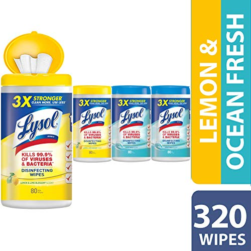 Lysol Disinfecting Wipes, Lemon & Ocean Breeze, 320ct (4x80ct) - Kitchen Cleaning Wipes